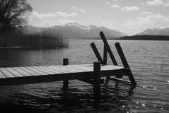 Wooden pathway on lake banks with mountain view Stock Photos