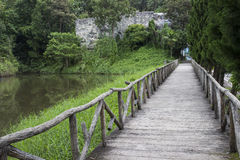 Wooden pathway beside the lake Stock Photos