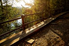 Wooden pathway in mountain park Royalty Free Stock Photo
