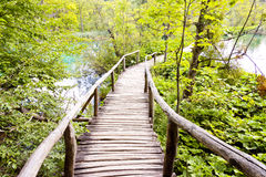 Wooden pathway - Plitvice lakes, Croatia Stock Images