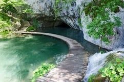 Wooden pathway. Plitvice. Wooden old pathway in National UNESCO park, Croatia - Plitvice lakes Stock Photo