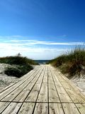 The wooden pathway to the beach on the sunny day at Baltic sea Royalty Free Stock Photography