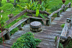 Wooden pathway. To the garden Stock Image
