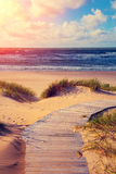 Wooden pathway to the sea. Marine landscape at sunset, wooden pathway to the sea Royalty Free Stock Images
