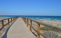A Wooden Pathway To The Sea - Boardwalk Paradise Royalty Free Stock Photos