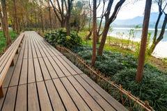 Wooden pathway, West Lake park in Hangzhou Stock Photos
