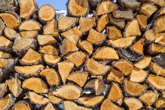 Wooden pattern. Stack of firewood at blue sky background Royalty Free Stock Images