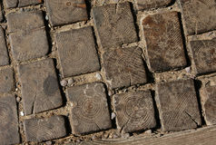 Wooden Pavement. A pavement of wooden blocks in Kromeriz in Northern Moravia, Czech Republic royalty free stock images