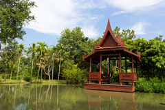 Wooden Pavilion. Waterfront Wooden Pavilion Surrounded by Natural Atmosphere Stock Photos