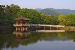 Wooden pavilion. Beautiful wooden pavilion on lake in park of Nara, Japan Royalty Free Stock Image