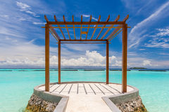 Wooden pavilion at Maldives Royalty Free Stock Photos