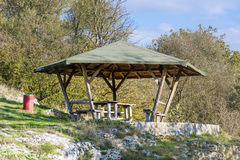 Wooden pavilion in the mountain Royalty Free Stock Photography