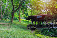 A Wooden Pavilion in National Park Stock Photo