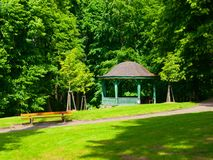 Wooden pavilion in the park Royalty Free Stock Photos
