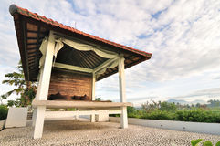 Wooden pavilion ralaxing near rice terrace Stock Photography