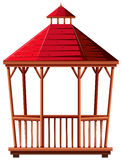 Wooden pavilion with red roof Royalty Free Stock Image