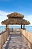 Wooden pavilion on seacoast stock image