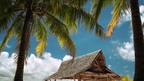 Wooden pavilion on white sand beach under palm trees, Daku Island, Philippines stock video