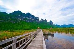 Wooden pavilion and wooden bridge in lotus lake, Samroiyod Stock Photography