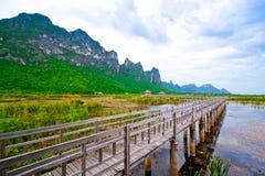 Wooden pavilion and wooden bridge in lotus lake, Samroiyod natio Stock Image