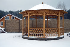 Wooden pavilion in the yard Royalty Free Stock Photo