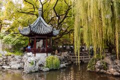 Wooden pavilion in the Yu Garden in Shanghai China royalty free stock photo