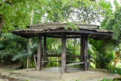 The wooden pavilions for relaxation stock photo