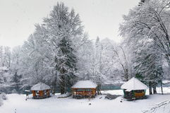 Wooden pavilions under snow Royalty Free Stock Images
