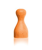 Wooden pawn with a solid color. Orange Royalty Free Stock Images