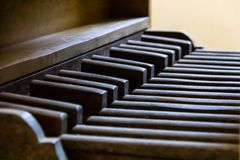 Pedalboard of a vintage pipe organ royalty free stock photos
