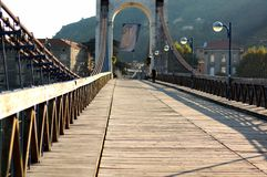 The wooden pedestrian bridge Royalty Free Stock Photo