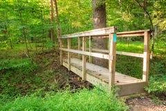 Wooden Pedestrian Bridge in Forest Stock Photo