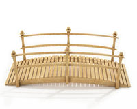 Wooden pedestrian bridge isolated on white background Royalty Free Stock Images