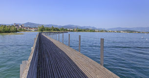 Wooden pedestrian bridge in Rapperswil Stock Photography