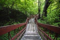 Wooden pedestrian bridge. In urban park Stock Photos