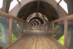 Wooden pedestrian tunnel. Hanging wooden pedestrian tunnel in japan,Ninohe town Stock Photography
