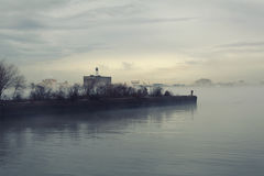 Wooden peer in fog. Wooden peer in a deep fog - Philadelphia, PA Royalty Free Stock Images