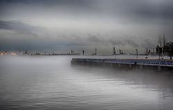 Wooden peer in fog. Wooden peer in a deep fog - Philadelphia, PA Stock Images