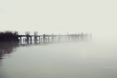 Wooden peer in fog. Wooden peer in a deep fog - Philadelphia, PA Stock Photo