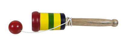 Wooden Peg and Ball Game. Wooden game made of a peg with a ball on a string - path included stock photos