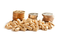 Wooden pellets -bio fuel. Royalty Free Stock Photo