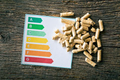 Wooden pellets and energy efficiency levels. The wooden pellets and energy efficiency levels Royalty Free Stock Image
