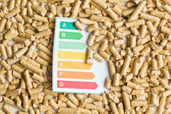 Wooden pellets and energy efficiency levels. The wooden pellets and energy efficiency levels royalty free stock photos