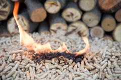 Wooden pellets in flames. Pile of pine pellets in front wooden wall stock images