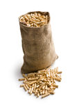 Wooden pellets in jute sack Royalty Free Stock Photos
