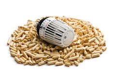 Wooden pellets with thermostat Stock Images