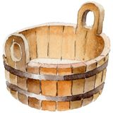 Wooden pelvis of sauna and spa accessories illustration. Steam relaxation bath wellness set. Heat water and healthy lifestyle leisure equipment Royalty Free Stock Photography