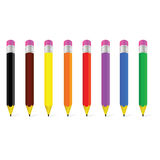 Wooden pen in eight color vector illustration Royalty Free Stock Photos