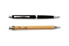 Wooden pen and mechanical pencil Stock Images