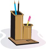 Wooden pen stand Stock Photo